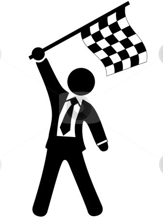 cutcaster-photo-100112082-business-man-celebrates-victory-waves-checkered-flag
