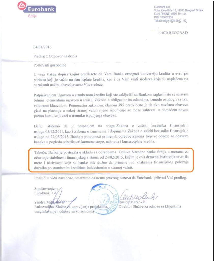 EFG Eurobank odgvor